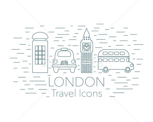 Londyn liniowy banner turystyki podróży line Zdjęcia stock © burtsevserge