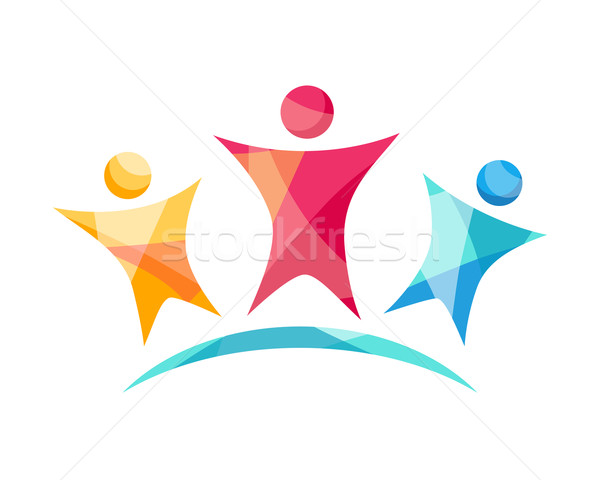 Stock photo: Vector Happy Team Logo