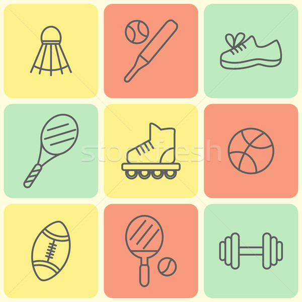 Stock photo: Flat Line Sport Icons