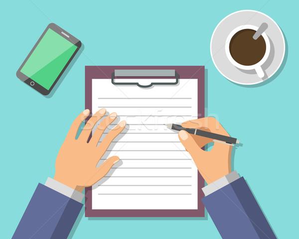 Geschäftsmann Handzeichen Business Dokument Papier Stift Stock foto © burtsevserge