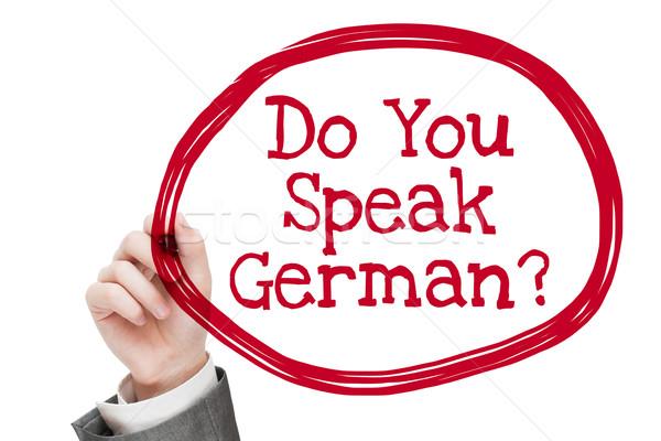 Falar homem escrita texto isolado branco Foto stock © burtsevserge
