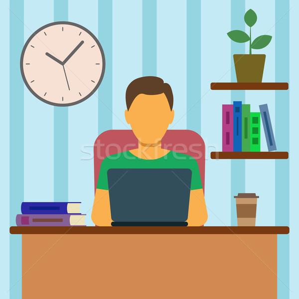 Adam çalışma ev iş ofis çalışmak Stok fotoğraf © burtsevserge