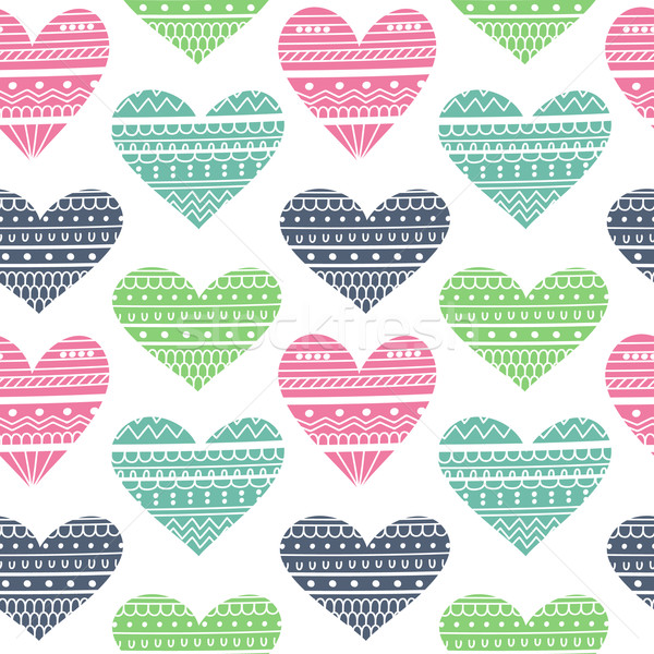 Stock photo: Hearts in Ethnic Style