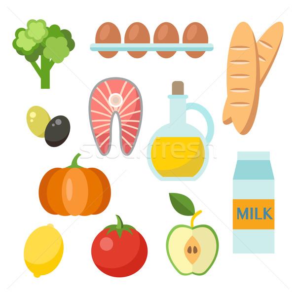 Vektör sağlıklı gıda stil organik ürünleri Stok fotoğraf © burtsevserge