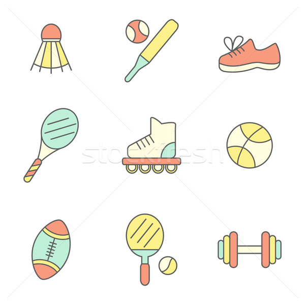Flat Line Sport Icons Stock photo © burtsevserge