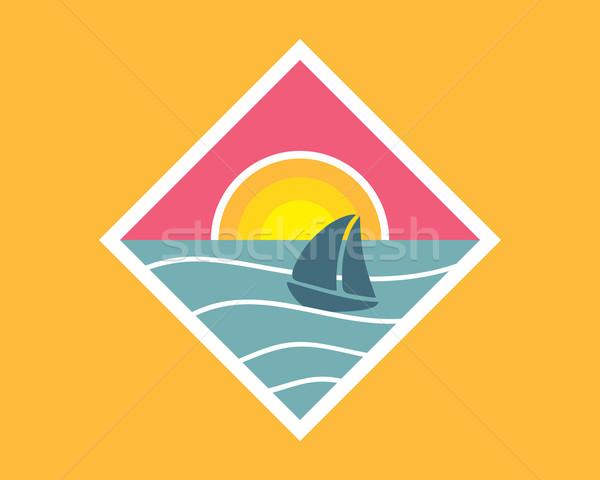Pôr do sol mar verão viajar emblema projeto Foto stock © burtsevserge