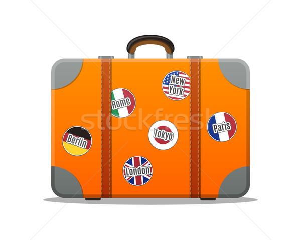 Seyahat bavul yalıtılmış dizayn örnek çanta Stok fotoğraf © burtsevserge