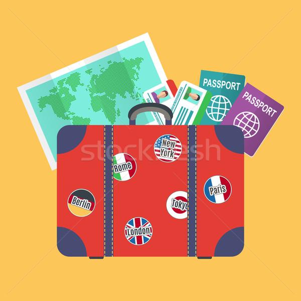 Mala terra mapa viajar férias mundo Foto stock © burtsevserge