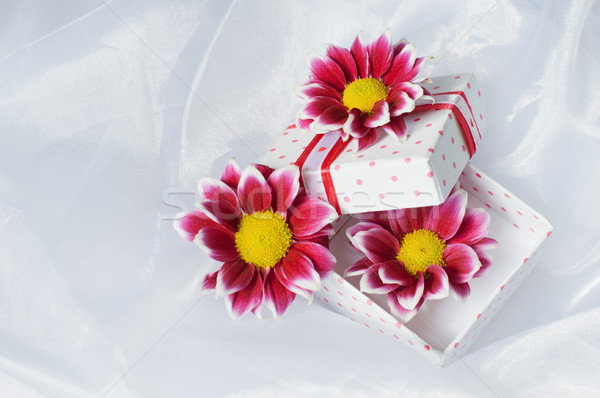 Gift Box With Pink Ribbon And Flowers Stock photo © burtsevserge