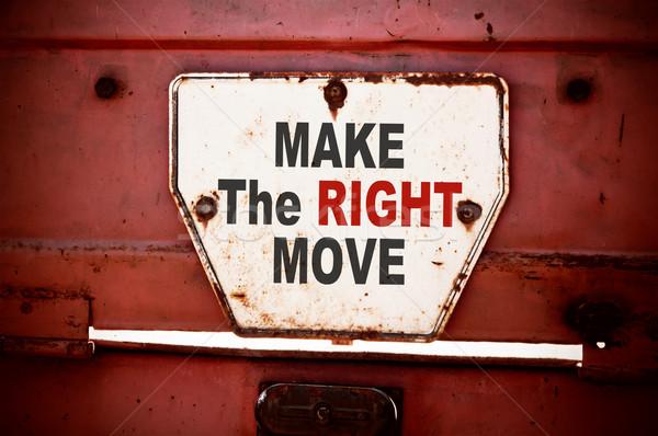 Direito mover mensagem texto escrito Foto stock © burtsevserge