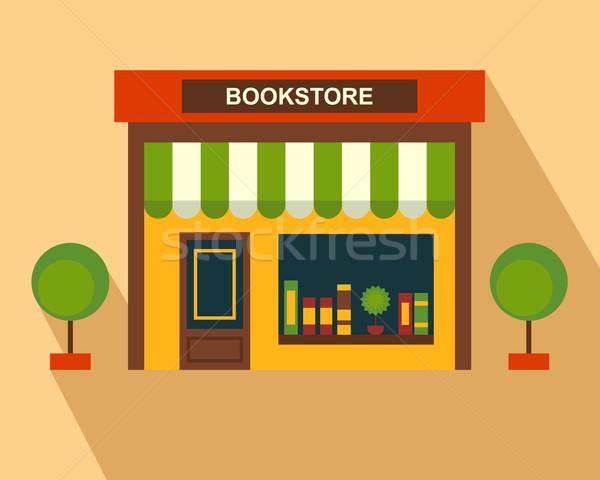 Livros armazenar edifício fino linha arte Foto stock © burtsevserge