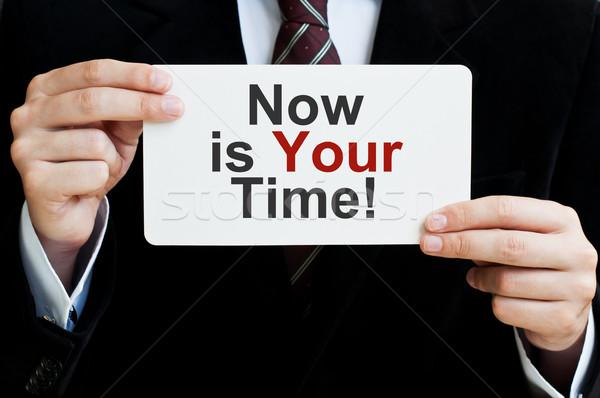 ストックフォト: 今 · 時間 · ビジネスマン · カード · メッセージ