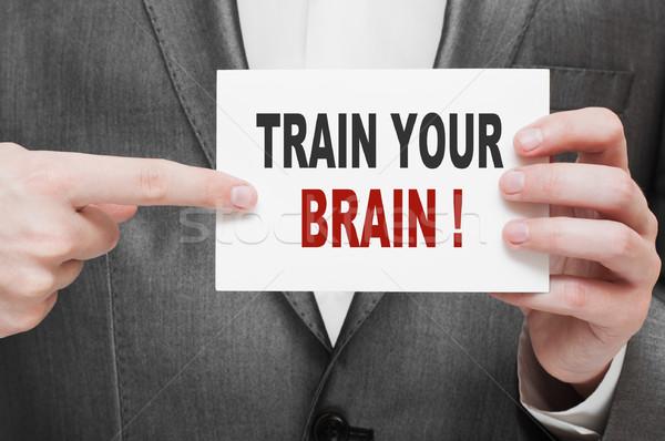 Foto d'archivio: Treno · cervello · carta · imprenditore · mano · uomo