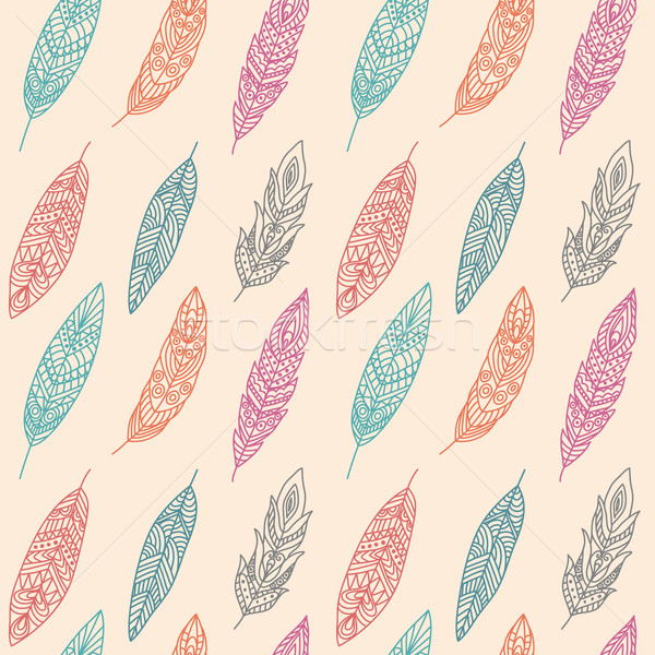 Stock photo: Seamless Pattern with Ethnic Feathers