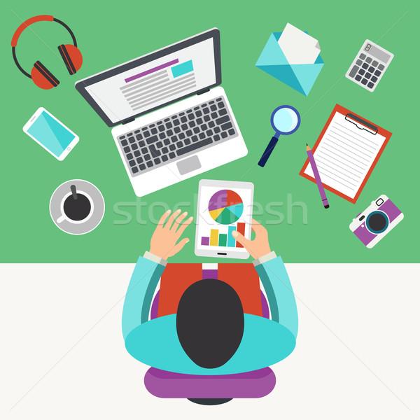 Bureau travail promoteur travail affaires téléphone Photo stock © burtsevserge