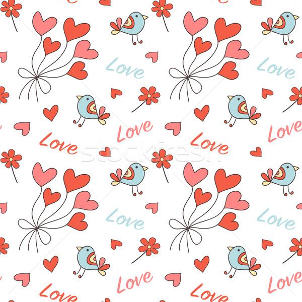 Romântico coração formas aves flores Foto stock © burtsevserge