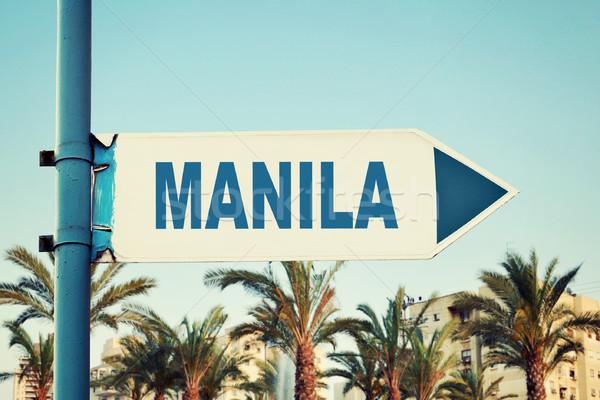 Manila placa sinalizadora estrada cidade paisagem Foto stock © burtsevserge