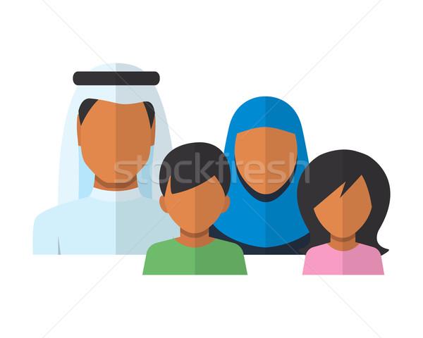 Arabes famille style père mère fils Photo stock © burtsevserge