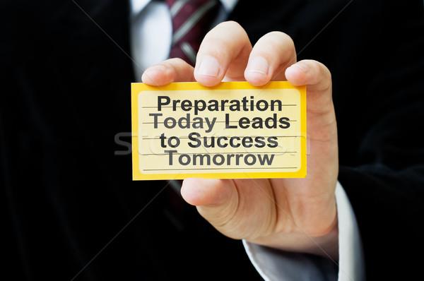 Voorbereiding vandaag succes morgen kaart zakenman Stockfoto © burtsevserge