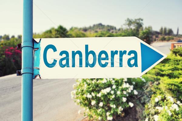 Canberra Austrália placa sinalizadora belo natureza estrada Foto stock © burtsevserge