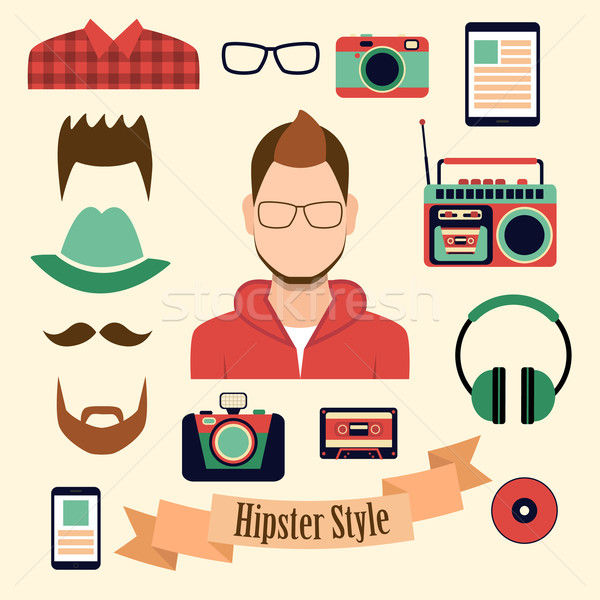 Stock photo: Hipster style with a hipster elements and icons