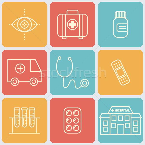Vector Medical Icons Set Stock photo © burtsevserge
