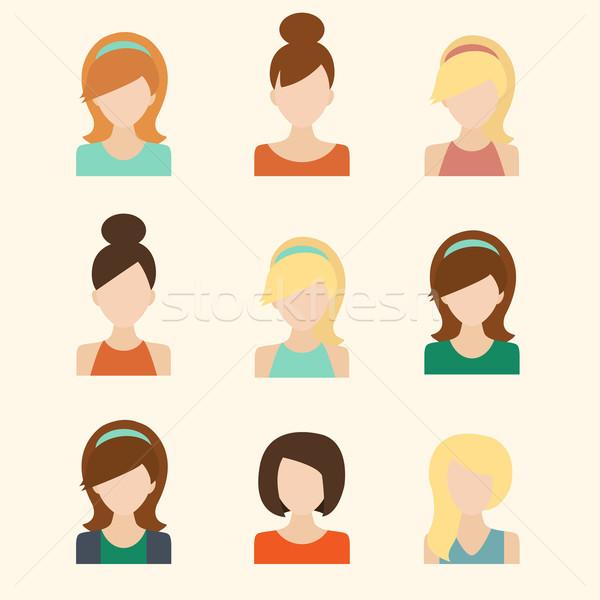Girls Icons Set Stock photo © burtsevserge