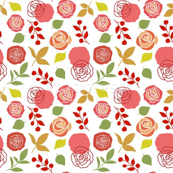 Floral rosas lata usado papel de parede Foto stock © burtsevserge