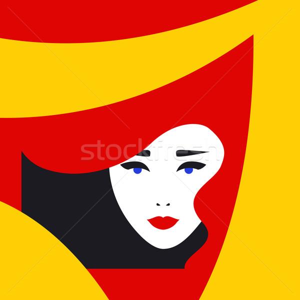 Moda pani w stylu retro piękna kobieta twarz makijaż Zdjęcia stock © burtsevserge