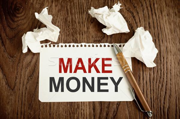 Dinheiro escrito branco papel Foto stock © burtsevserge