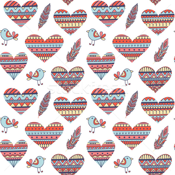 Seamless Pattern with Hearts in Ethnic Style Stock photo © burtsevserge