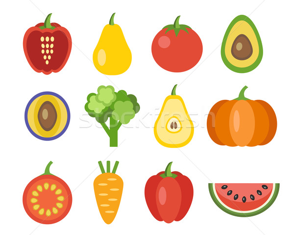 Stock photo: Vegetables And Fruits Icons