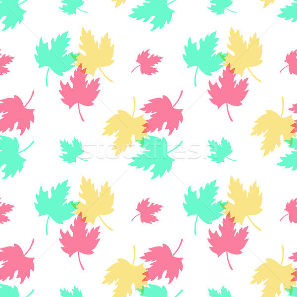 Seamless Pattern with Colorful Leaves Stock photo © burtsevserge