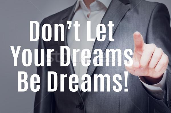 Dromen man aanraken tekst virtueel scherm Stockfoto © burtsevserge