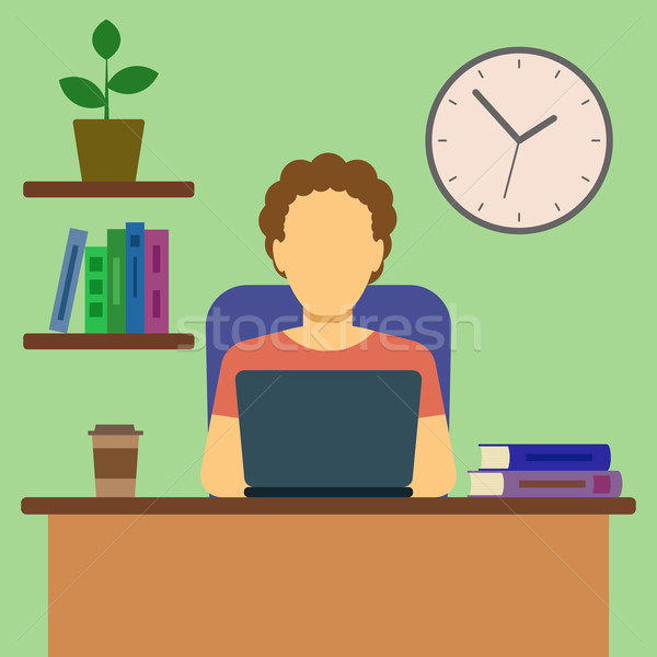 Stock photo: Man Working At Home Concept