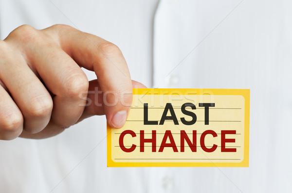 Utolsó esély kártya férfi kéz megbeszélés Stock fotó © burtsevserge