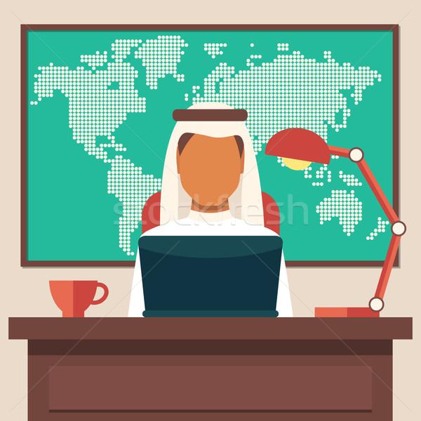 Arabian Businessman Working in The Office Stock photo © burtsevserge