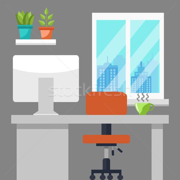 Ofis işyeri stil modern dizayn bilgisayar Stok fotoğraf © burtsevserge
