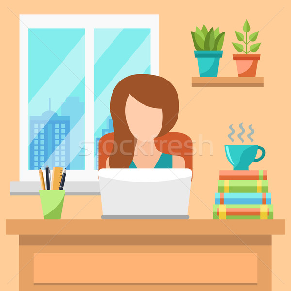 Güzel genç kadın çalışma ofis bilgisayar yüz Stok fotoğraf © burtsevserge