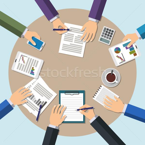 Toplantı ofis takım çalışması beyin fırtınası eller çalışmak Stok fotoğraf © burtsevserge