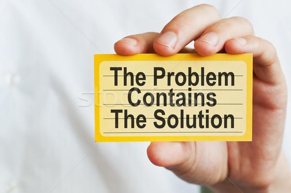 Problema solução empresário cartão mensagem Foto stock © burtsevserge