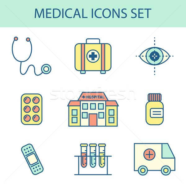 Linha médico ícone ícones vetor Foto stock © burtsevserge