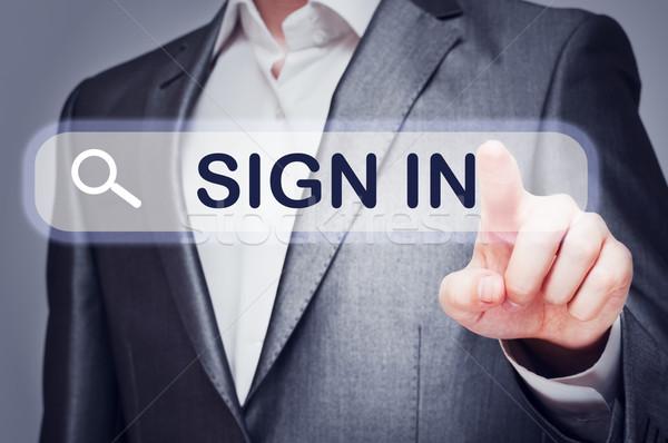 Adam dokunmak imzalamak düğme sanal ekran Stok fotoğraf © burtsevserge