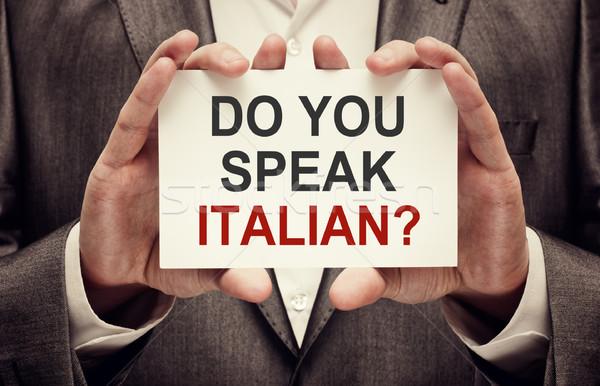 Parlare italiana uomo indossare suit Foto d'archivio © burtsevserge