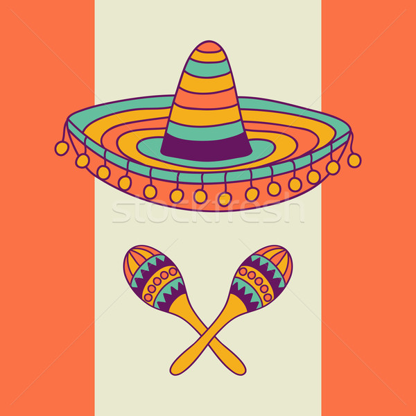 Mexican design with sombrero and cactus Stock photo © burtsevserge