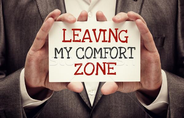 Meu conforto empresário cartão motivacional Foto stock © burtsevserge