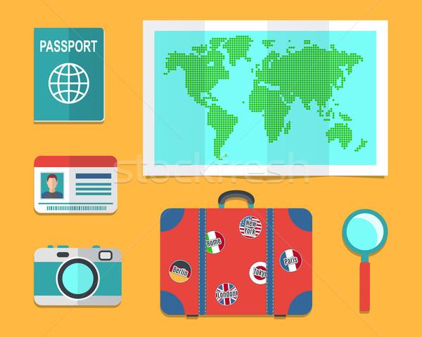 Mala terra mapa viajar férias saco Foto stock © burtsevserge