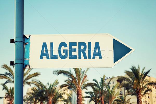 Argélia placa sinalizadora estrada fundo verão Foto stock © burtsevserge