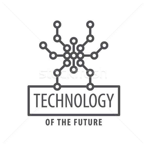 Vektor logo grafikus pók chip számítógép Stock fotó © butenkow