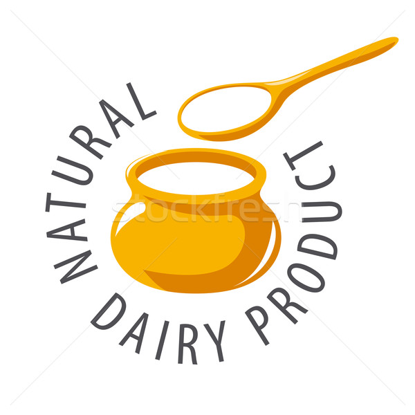 vector logo pot and a spoon with milk product Stock photo © butenkow